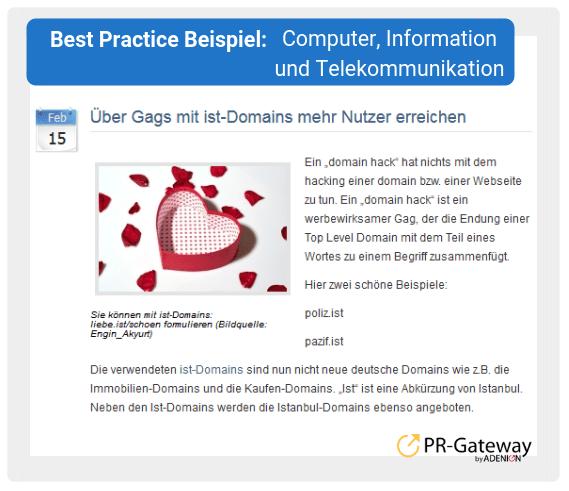 Best Practice Beispiel: Computer, Information und Telekommunikation