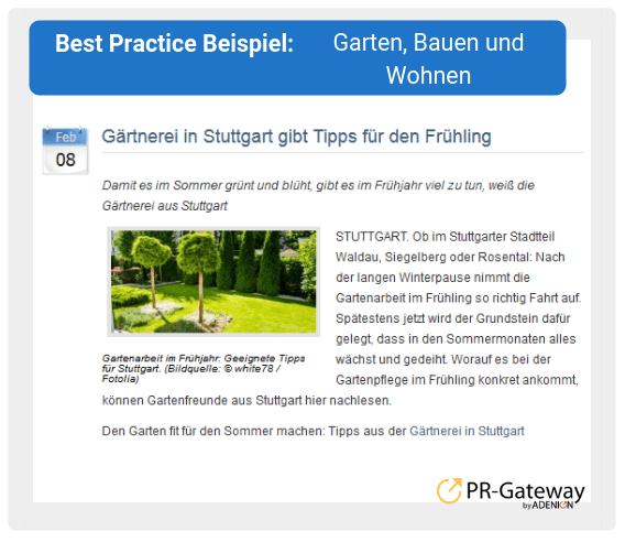Best Practice Beispiel: Garten, Bauen und Wohnen
