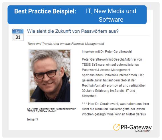 Best Practice Beispiel: IT, New Media und Software