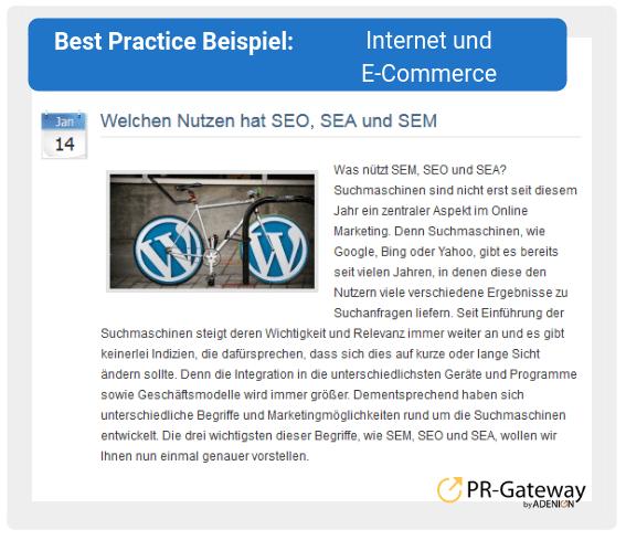 Best Practice Beispiel: Internet und E-Commerce