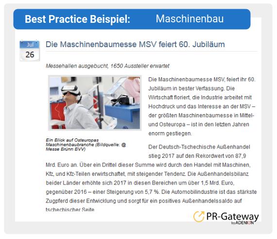 Best Practice Beispiel: Maschinenbau