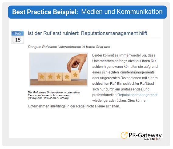 Best Practice Beispiel: Medien und Kommunikation
