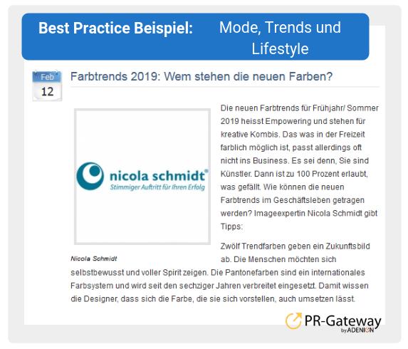 Best Practice Beispiel: Mode, Trends und Lifestyle