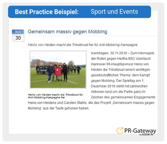 Best Practice Beispiel: Sport und Events