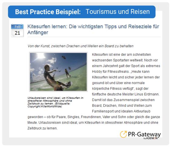 Best Practice Beispiel: Tourismus und Reisen