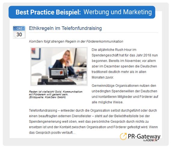 Best Practice Beispiel: Werbung und Marketing