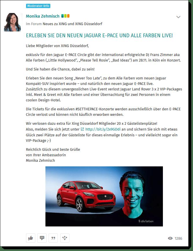 """Erfolgreiches Influencer-Projekt zwischen Jaguar und der XING Ambassador Community Düsseldorf mit einem Pre-View des Jaguar E-Pace und Verlosung zu einem Exklusiv-Konzert mit dem DJ """"Alle Farben""""."""