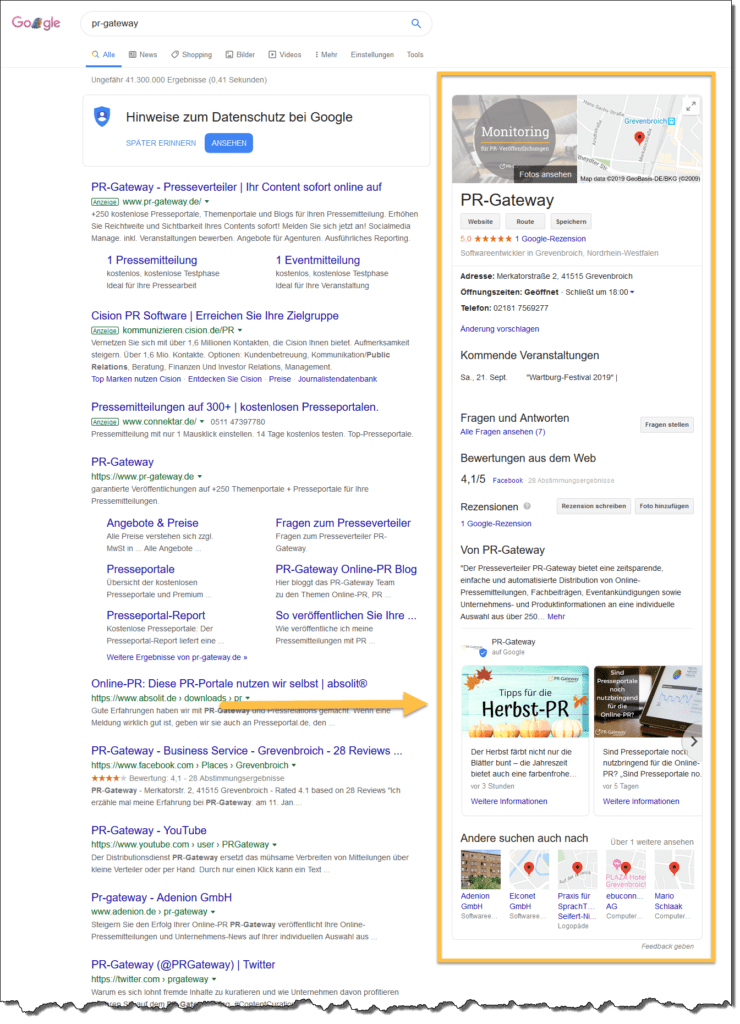 """Durch Google My Business werden Sie direkt im """"Knowledge-Panel"""" (prominent sichtbarer Bereich rechts oben) der Google Suchergebnisse gefunden. Unternehmens-News, Fachartikel, Veranstaltungen, Produkte oder Angebote bringen aktuelle Themen in den Google-My-Business-Eintrag."""
