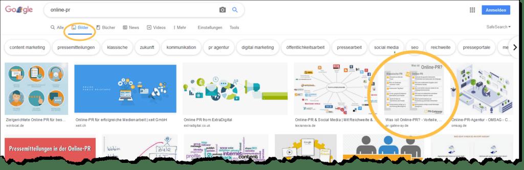 Über die Google-Bildersuche werden Ihre PR-Themen prominent angezeigt, ziehen die Aufmerksamkeit der Internet-User auf sich und bringen Leser auf Ihre Website.