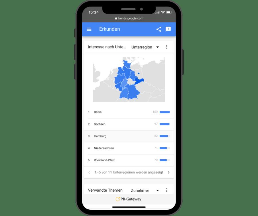 Google Trends Interesse an Aktionstagen