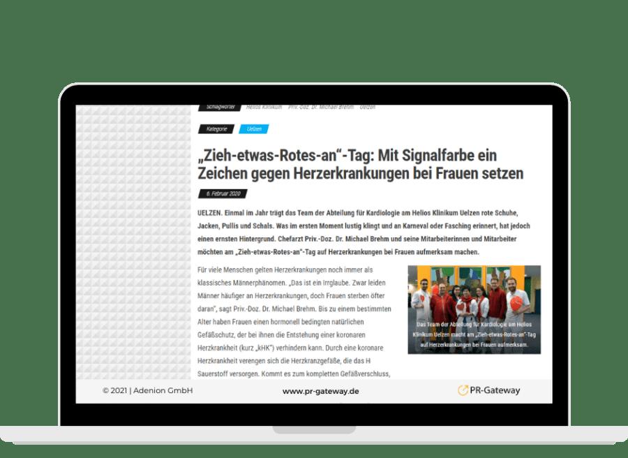 """Pressemiteilung ders Helios Klinikums zum """"zieh etwas Rotes and Tag"""""""