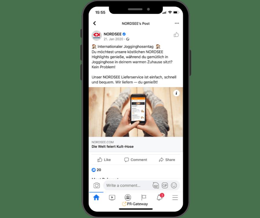 Social Media Post von Nordsee zum Jogginghosentag