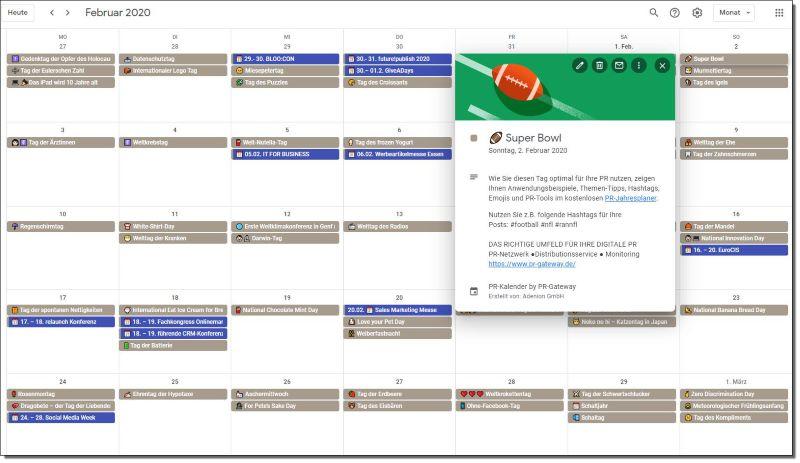 PR-Kalender mit Thementagen als ical