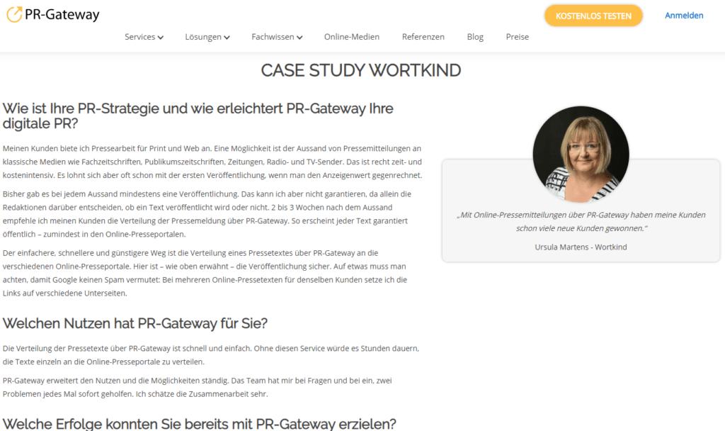 Case Study PR-Gateway auf der Referenzen-Seite
