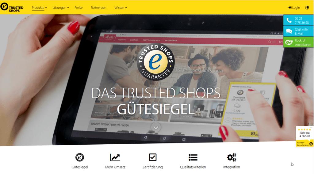 Gütesiegel und Widget Trusted Shops