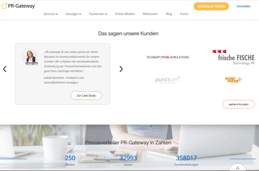PR-Gateway Bewertungen und Referenzen auf der Startseite
