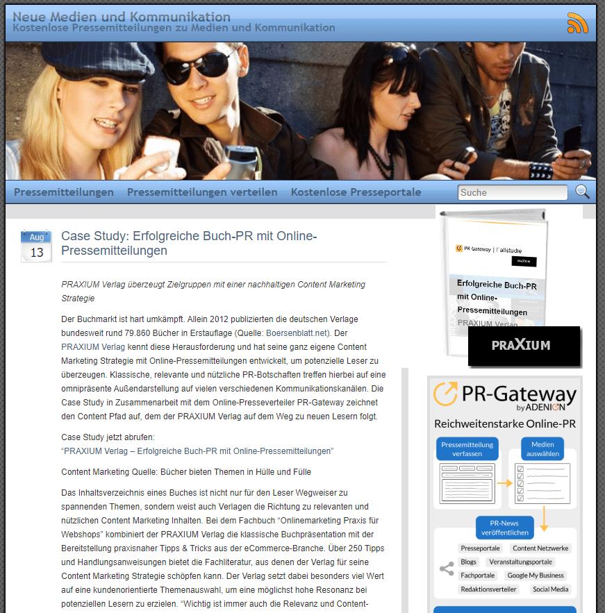 PR-Gateway Pressemitteilung zur Case Study Praxium Verlag