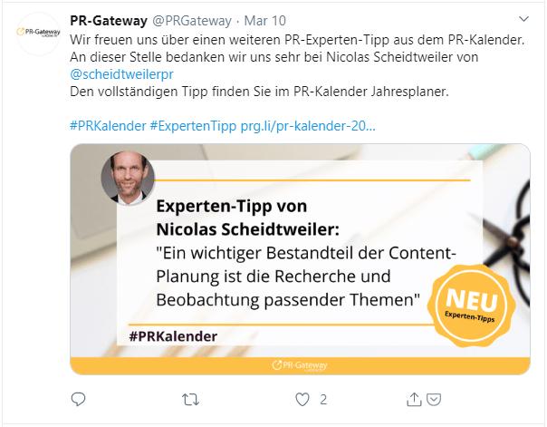 PR-Gateway Danke an Experten fürs Mitmachen über Twitter