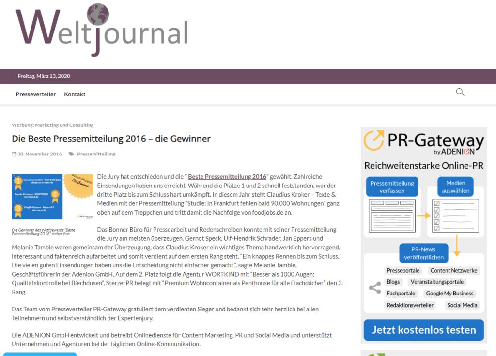 Pressemitteilung PR-Gateway UGC_Beste Pressemitteilung