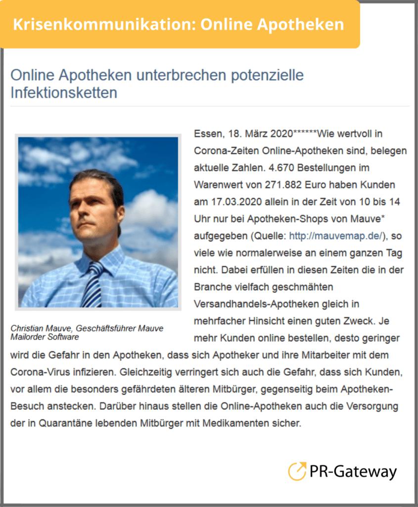 Krisenkommunikation: Online Apotheken unterbrechen potenzielle Infektionsketten