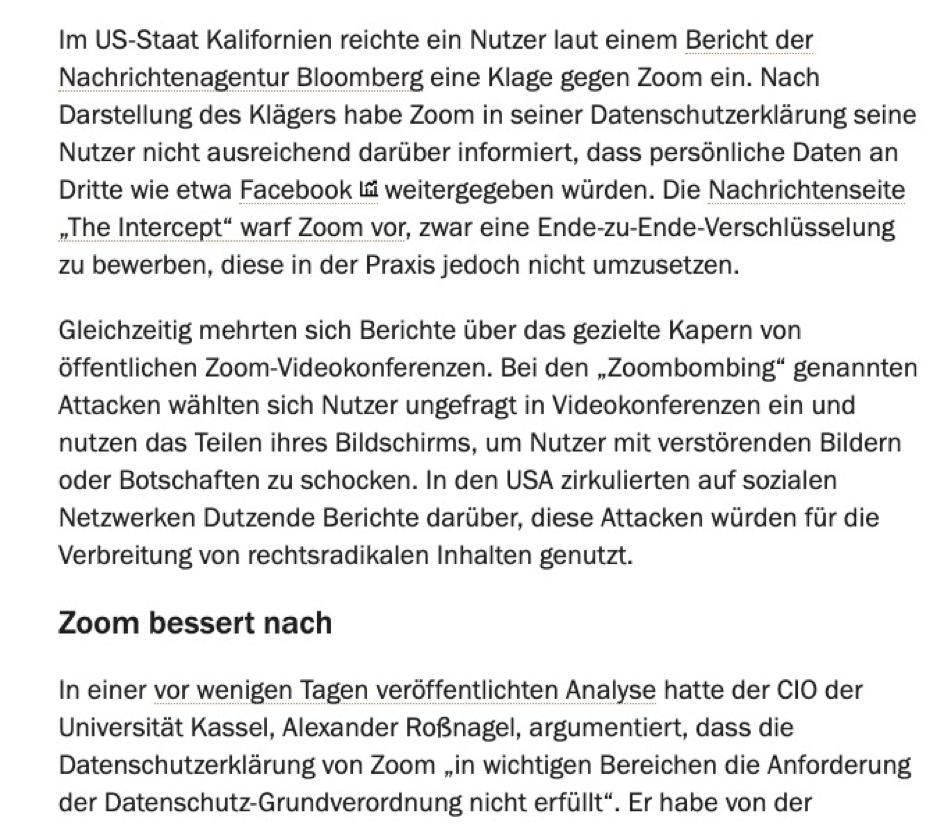 Berichterstattung über Zoom im Handelsblatt