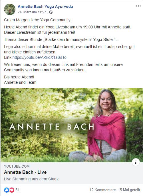 Yoga-Studio von Annette Bach stellt auf Online-Events um