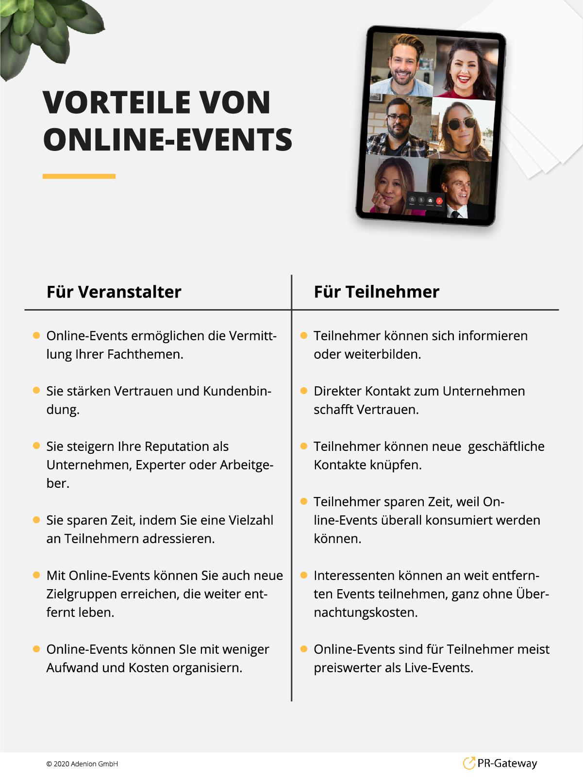 Vorteile von Online-Events