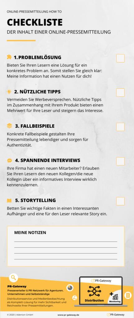 Checkliste zum Inhalt einer Online-Pressemitteilung