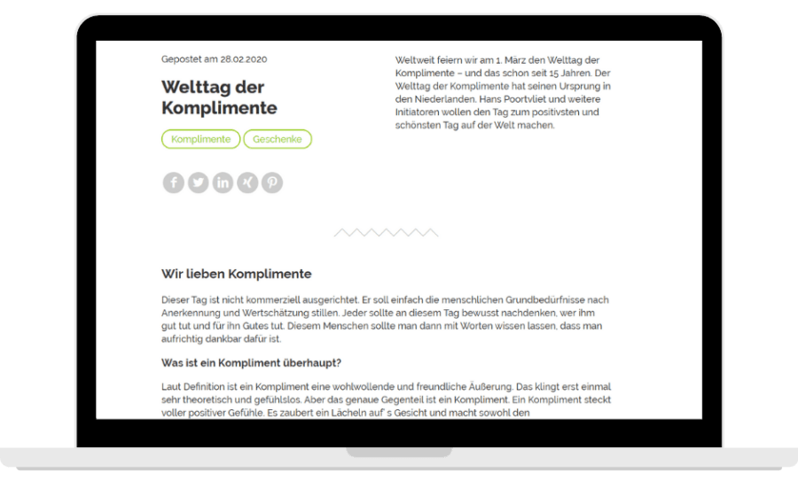 """Blogbeitrag von Hansenobst zum """"Tag der Komplimente"""""""