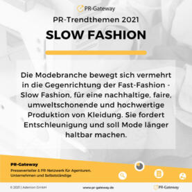 PR-Trendthemen 2021: Slow Fashion