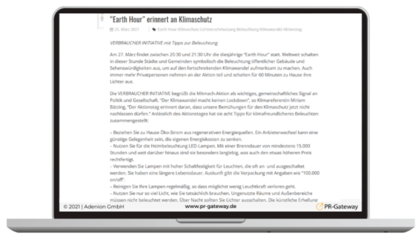 Pressemitteilung Earth Hour