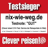 Das Online-Reisebüro Nix-wie-weg ist erneut Testsieger bei Clever reisen!