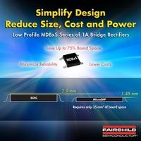 MicroDIP Brückengleichrichter von Fairchild Semiconductor benötigen durch geringe Bauhöhe nur wenig Platz