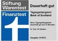 Bank of Scotland ab sofort mit 2,40 % Zinsen im Tagesgeld-Vergleich