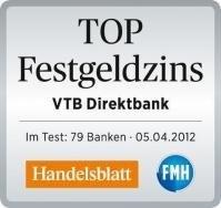 """VTB Direktbank erhält Auszeichnung """"TOP Festgeldzins"""""""