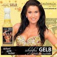 Antonia aus Tirol wirbt-scharf, gelb, lecker für Likör!