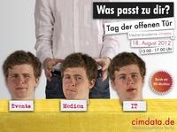 Zum Ausbildungsstart am 10.09.2012 lädt die cimdata.de Medienakademie Berlin zum Tag der offenen Tür am 18.08.2012 ein.
