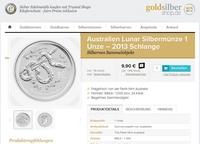 Frisch eingetroffen: Lunar II Münze 2013 Motiv Schlange