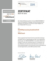 Web2Touch erlangt ZERTIFIKAT BEST OF 2012 eLearning beim INNOVATIONSPREIS-IT