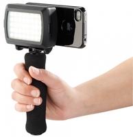Somikon Stativhalterung mit LED-Videoleuchte fuer iPhone 4/4S