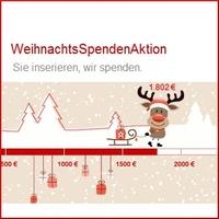Weihnachtliche Spende gegen kostenlose Kleinanzeige - Weihnachtsspendenaktion - Spendenbetrag hat 1500 Euro überschritten