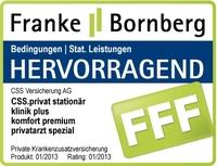 """CSS Versicherung AG erneut mit """"hervorragend"""" ausgezeichnet - Franke und Bornberg bewerten neuen ambulanten und stationären Unisex-Tarif mit FFF"""
