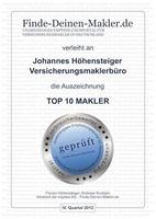 Versicherungsmaklerbüro Höhensteiger von Finde-Deinen-Makler.de zu einem Top 10 Makler ausgezeichnet