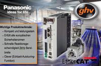 ghv Antriebstechnik und Automation eröffnet hochdynamische Echtzeitkommunikation mit den neuen Panasonic A5B-EtherCAT Servoreglern