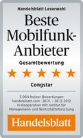 "congstar ist ""Bester Mobilfunkanbieter 2013"""