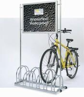 Werbefahrradständer - Der Regen kann kommen! Ihre Plakatwerbung bleibt mit diesem Fahrradparker trocken und geschützt!