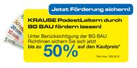 Ideal für BG-Bau-Mitglieder: Jetzt KRAUSE Podestleitern kaufen und bis zu 50% Förderung sichern.