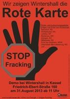 """Rote Karte für Wintershall: """"Stoppt Fracking in Hessen und anderswo"""""""