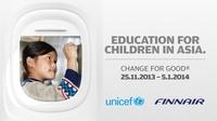 Finnair und UNICEF sammeln Spenden für Asien