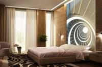 Schicke Fototapete im Schlafzimmer